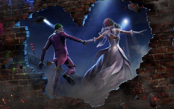 Comics Joker DC Comics Harley Quinn Bride Groom Heart-Shaped Wedding Dress HD Wallpaper | Background Image