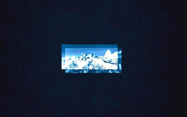 Artistic Mountain Blue Simple Box Hot Air Balloon HD Wallpaper | Background Image