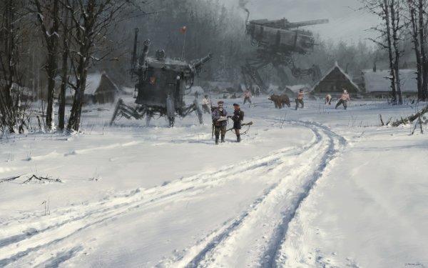 Game Scythe Machine Futuristic Bear Snow HD Wallpaper | Background Image