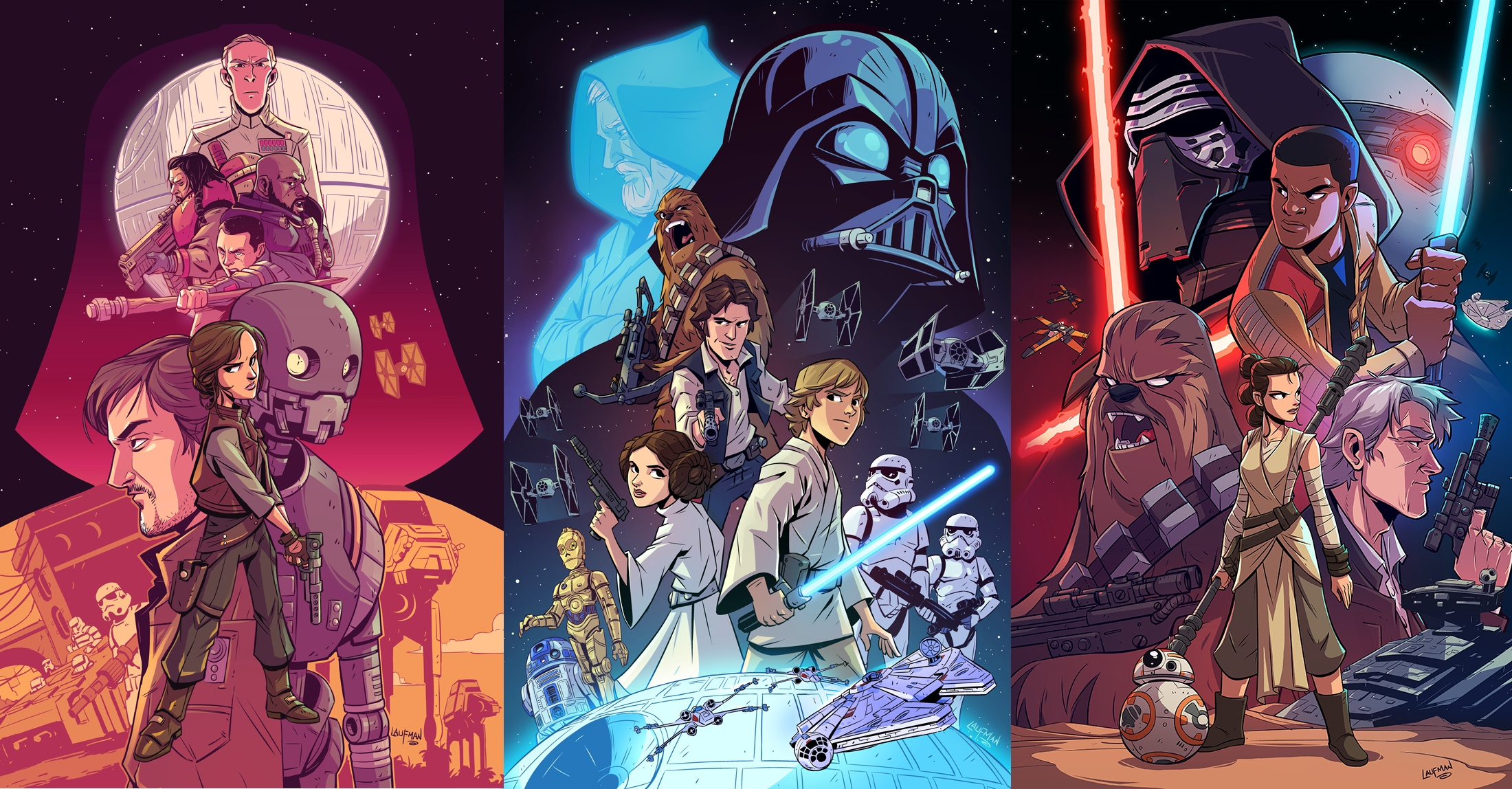 Cartoon Collage Of Star Wars Movies Hd Wallpaper Background