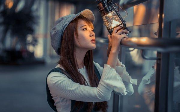 Frauen Asiatinnen Woman Modell Depth Of Field Laterne Hat Brünette HD Wallpaper | Hintergrund