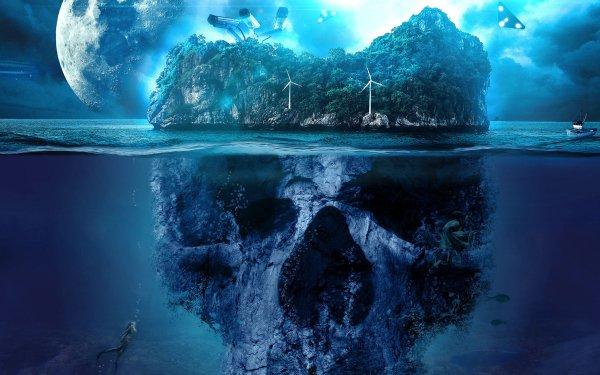 Fantaisie Island Crâne Fond d'écran HD | Arrière-Plan