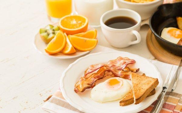 Food Breakfast Still Life Coffee Cup Egg Bacon orange Toast HD Wallpaper   Background Image
