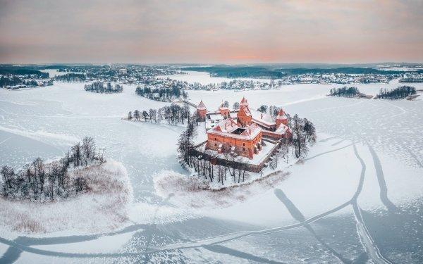 Man Made Trakai Island Castle Castles Castle Landscape Winter Horizon Lithuania HD Wallpaper | Background Image
