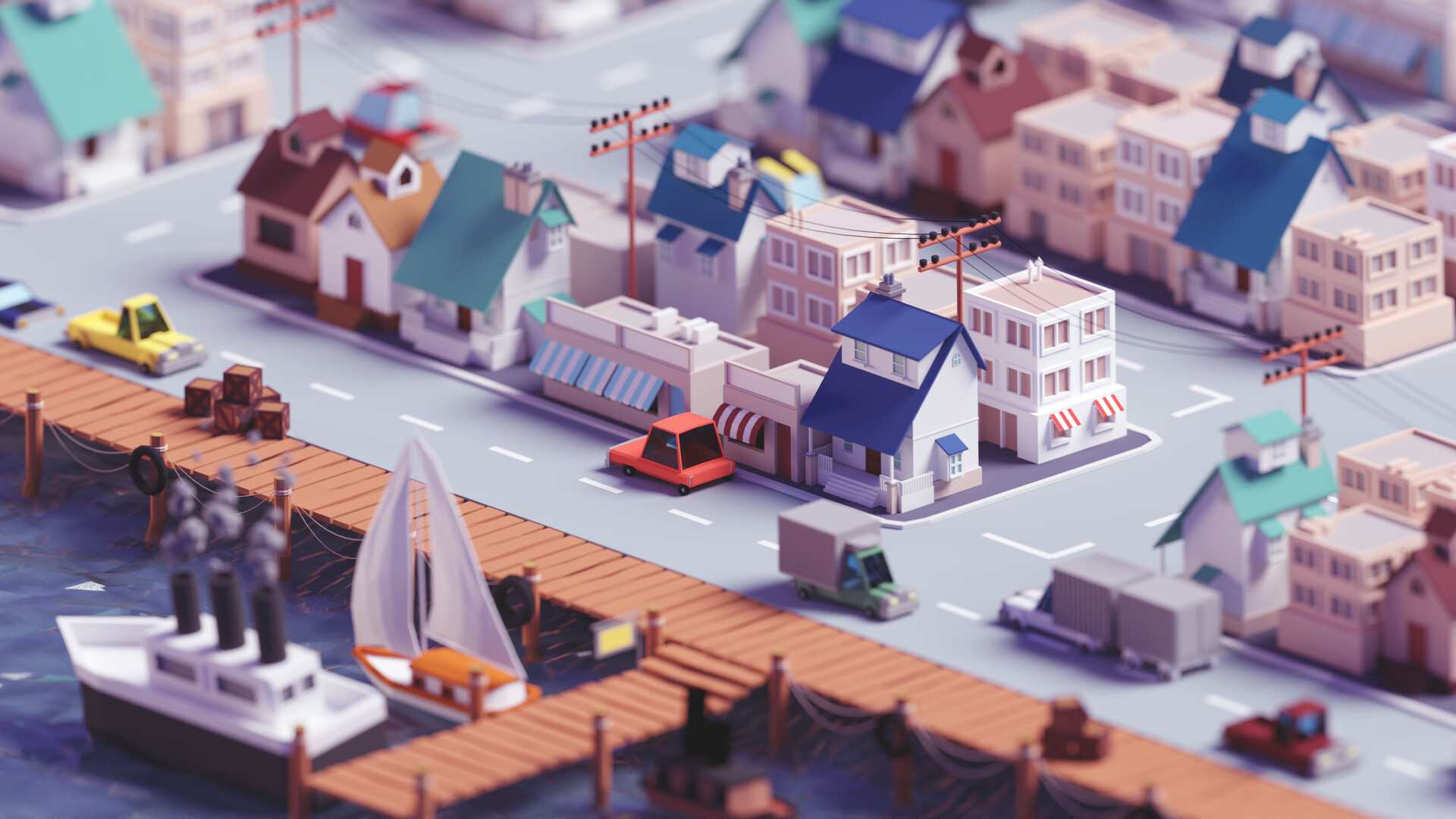 Low Poly Fishing Village Hd Wallpaper Background Image