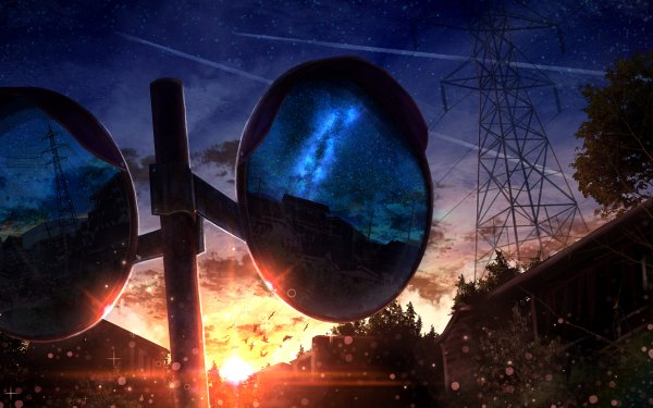 Anime Original Sunset Town Mirror HD Wallpaper | Background Image