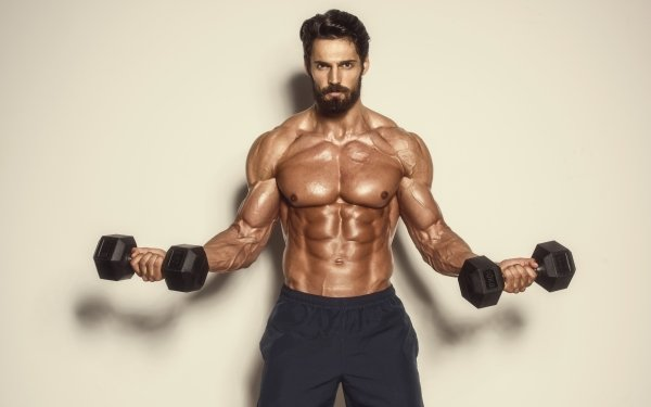 Sports Weightlifting Model Beard Muscle HD Wallpaper | Background Image