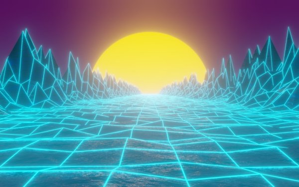 Artistic Retro Wave Grid Mountain Synthwave HD Wallpaper | Background Image
