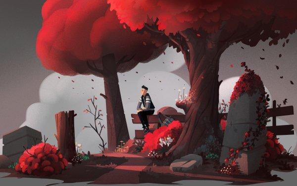 Artistic Boy Tree Bench HD Wallpaper | Background Image