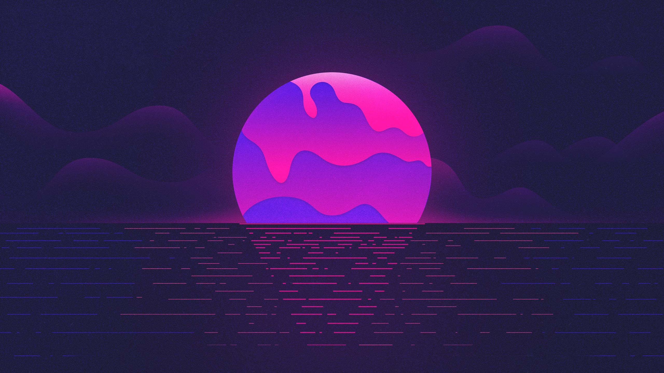 Vaporwave Sunset Hd Wallpaper Background Image 2560x1440 Id