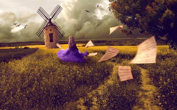 Fantasy Women Field Windmill HD Wallpaper | Background Image